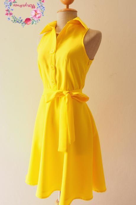 Yellow Bridesmaid Dress, Bright Sunshine Yellow Dress,Yellow Summer Dress, Yellow Skater Dress, Shirt Dress, Formal Dress, Midi Dress, Vintage Sundress, Vintage Inspired Dress, - DOWNTOWN - XS-XL, Custom