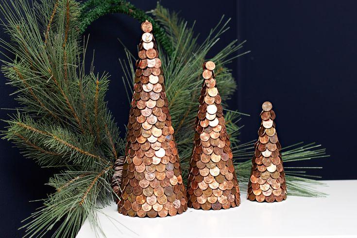 koper kerstboompjes Cooper Christmas Cone trees
