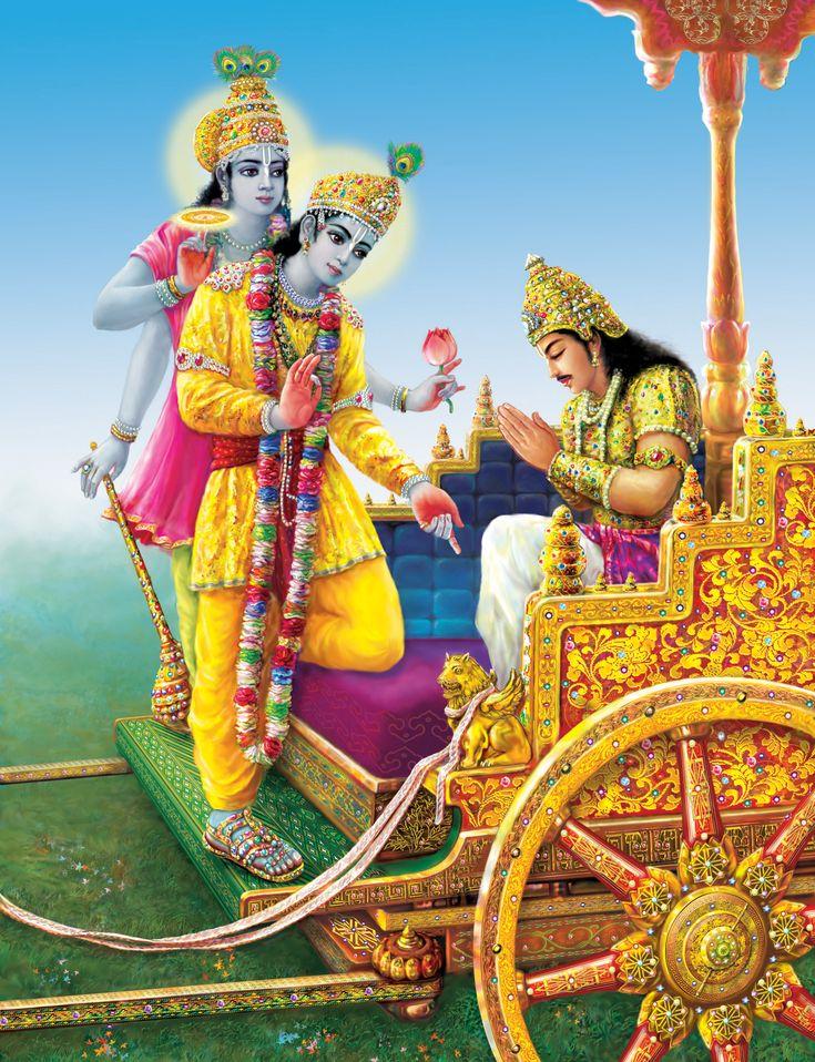 At last Krishna showed Arjuna His two-armed form.