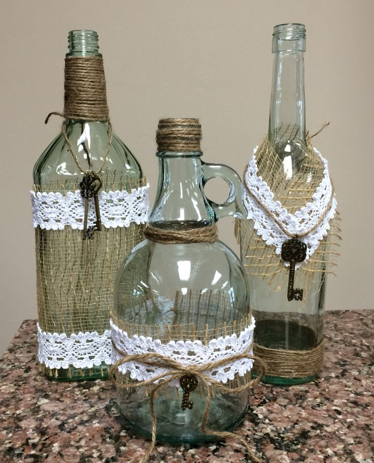 Up cycled bottles to decorate any room.