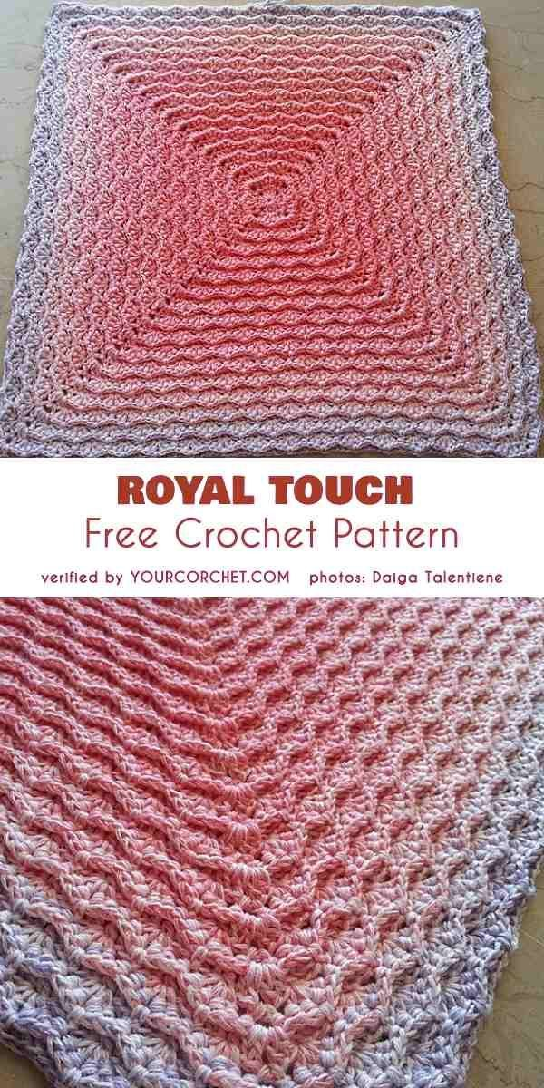 Royal Touch Square oder Decke Kostenlose Häkelanleitung Source by ...