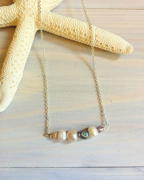 Freshwater Pearl Bar Necklace  Gift For Her  Multicolored