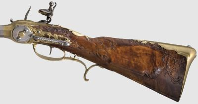 Rare Lorenzoni System flintlock rifle from Germany, dated 1730. Sold: €15,000