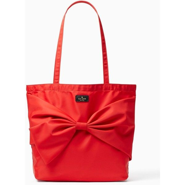 Kate Spade On Purpose Nylon Tote ($97) ❤ liked on Polyvore featuring bags, handbags, tote bags, tote handbags, nylon tote bags, nylon tote, red tote bag and red purse