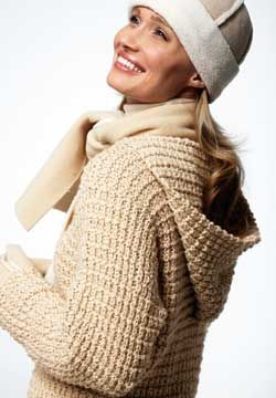 Cozy hooded pullover in a rich textured stitch. Shown in Patons Shetland Chunky.