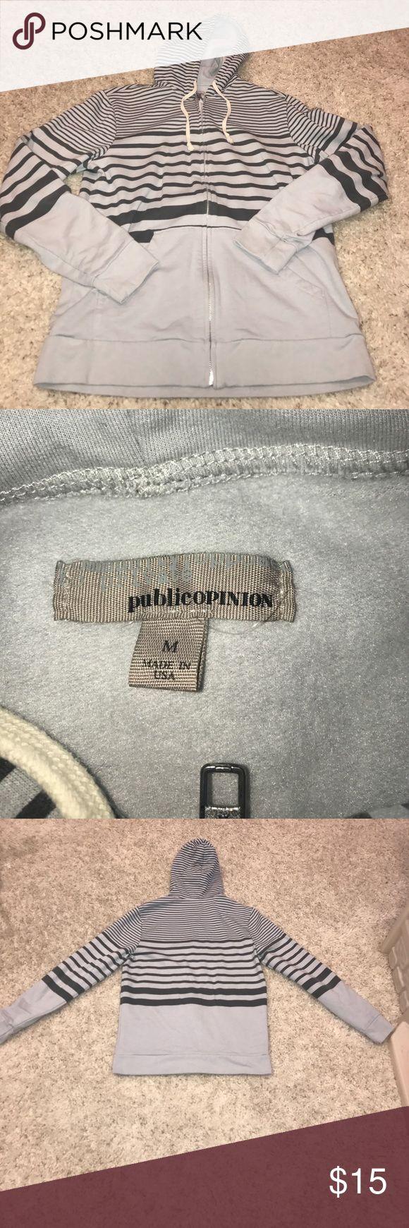 Public Opinion Striped Hoodie Men's Striped Hoodie Grey and Black super soft Public Opinion Shirts Sweatshirts & Hoodies