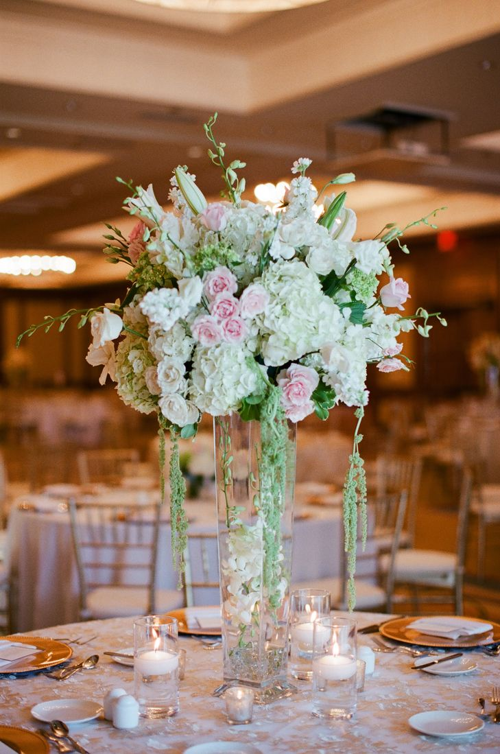 Ivory, Green and Blush Tall Reception Centerpiece | Photo: Ashley Seawell Photography | Arrangement: Flowers by Freshcuts |