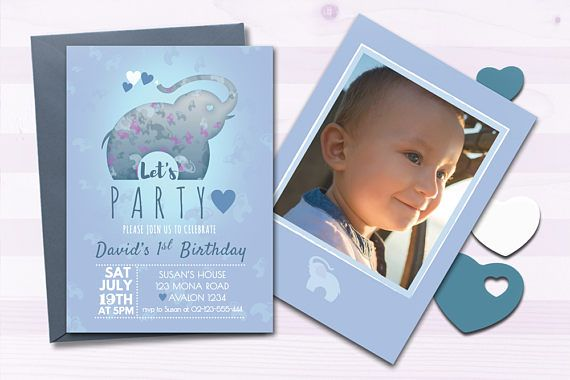 Blue Elephant Birthday Party Invitation for Boys - Digital Printable