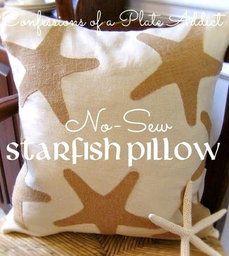 Now sew coastal starfish pillow. What's not to love about that! Featured on CC: http://www.completely-coastal.com/2015/02/diy-nautical-coastal-beach-pillows-tutorials.html