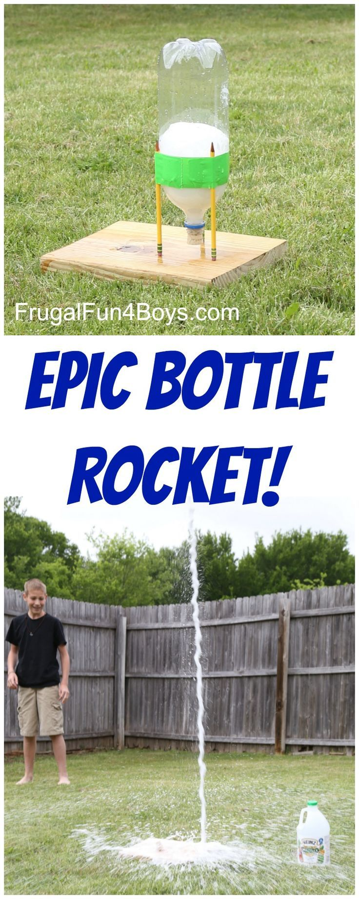 This EPIC Bottle Rocket Flew Higher Than our Two Story House! - Frugal Fun For Boys    This is a fun outside project for kids of all ages. U...