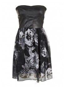 Chiffon dress with pleather bodice Multi-colour