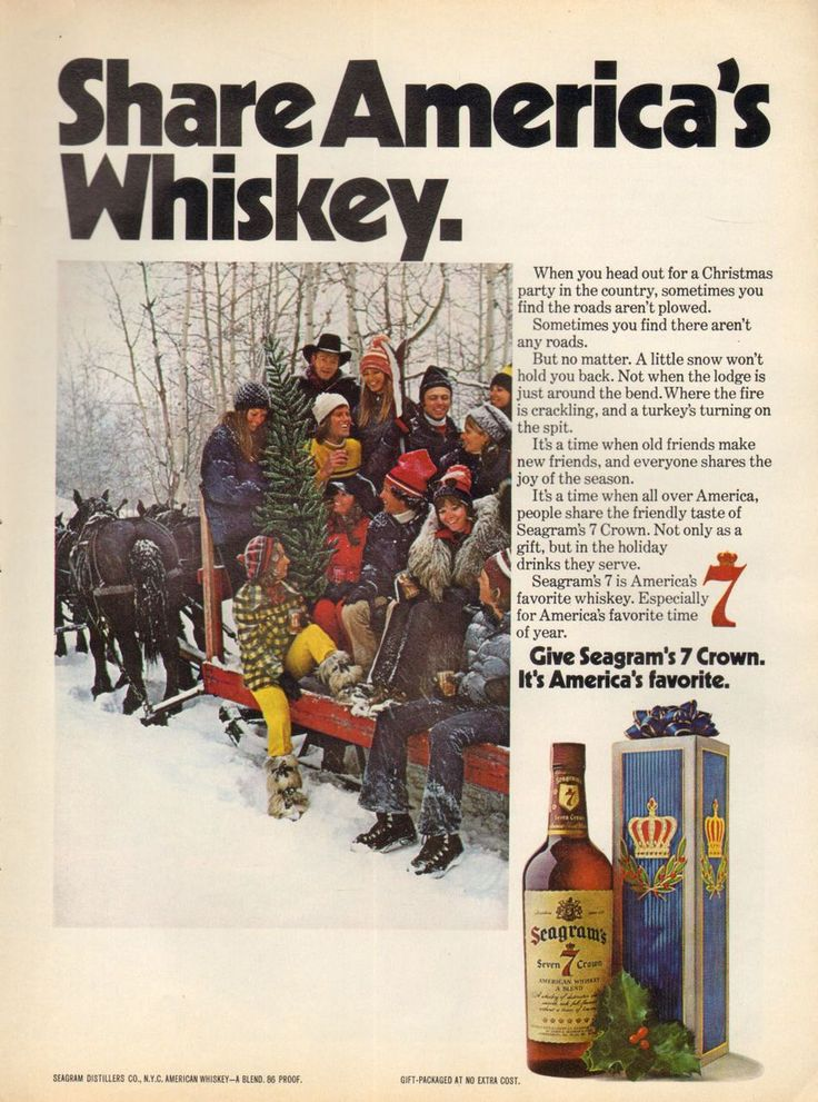 1973 Print Advertisement Ad Seagrams 7 Whiskey Horse drawn sled - Advintage Plus