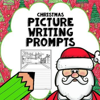 Christmas themed picture writing prompts for beginning writers with labeled pictures that can be put in a writing center or using as a weekly writing prompt, giving students ideas for writing.  The labeled pictures can act as a word bank for students, acting as a support for them to help to build confidence in their writing.
