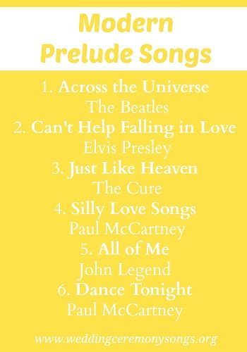 Modern Wedding Prelude Songs. #weddingmusic