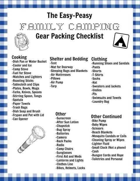 My Easy-Peasy Family Camping Checklist and a Free Printable ...