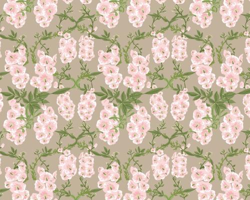 Britta pattern in greige, green and pink inspired by a Swedish garden filled with hollyhocks.   www.formstigen2a.se/pattern
