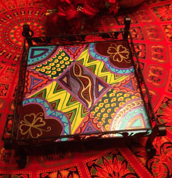 Hand Painted Bohemian Metal Quilt Design Candle Holder or