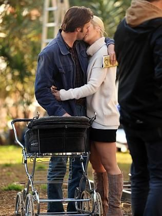 Jessica Marais and Matthew Le Nevez pictured filming Love Child in Kings Cross, season 3