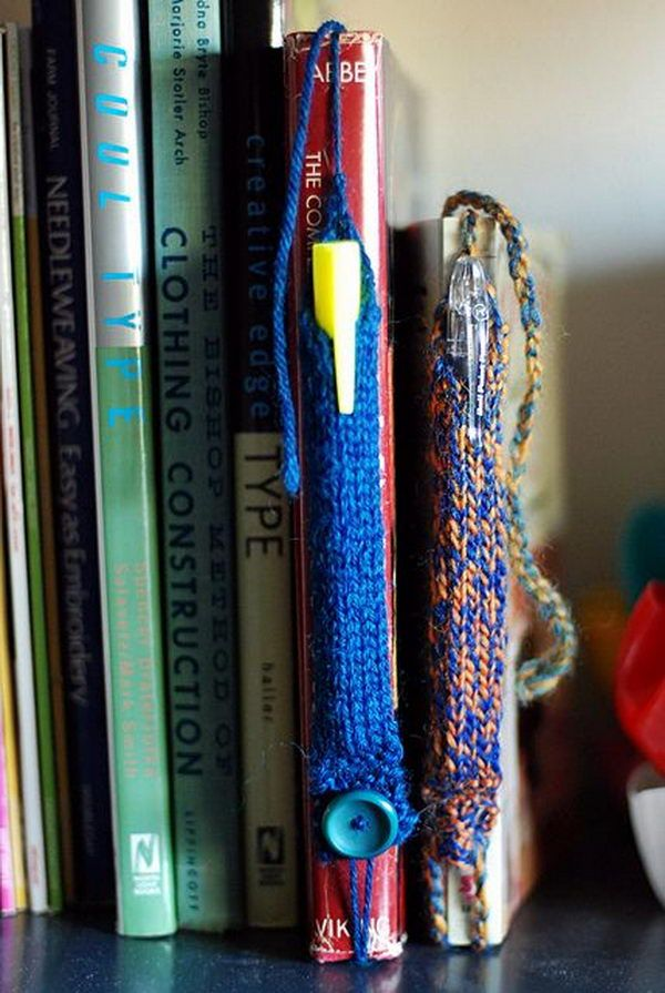 Pen Tube Bookmarks, Cool Knitting Project Ideas