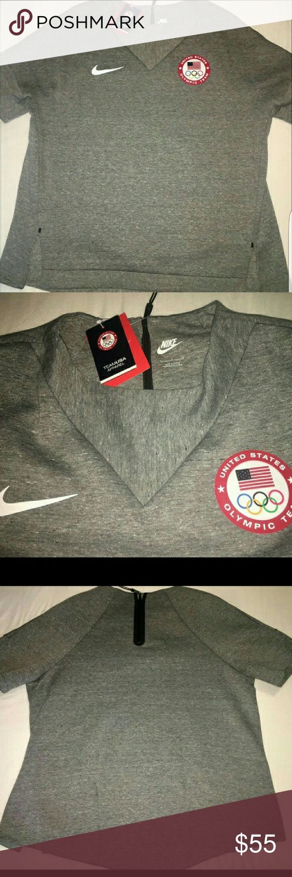 Nike 2016 Olympics Team USA sweatshirt Awesome unique sweatshirt from 2016 Olympics, brand new never worn. High low cut thick material, reposh, too big for me or I wouldn't be selling! Nike Tops