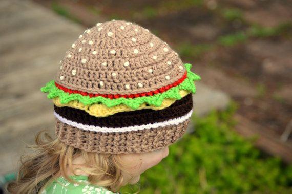 Cheeseburger Beanie, Crochet Food Hat, Knit Hamburger Hat, Kids Dress Up Hat, Crochet Cheeseburger, Toddler Boys Hat, Girls Hat, Adult Hat