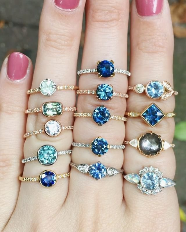 """Which is your favorite? ✨✨ Ethically sourced Sapphire beauties from Montana, USA. And yes, """"all of them"""" is an acceptable answer"""