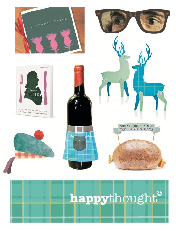 How to host a Burns night supper! Easy to make printable party kit. Includes 10 DIY templates to print & make instantly - by Happythought.