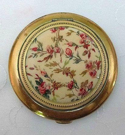 Antique Vintage Floral powder compact c1950s