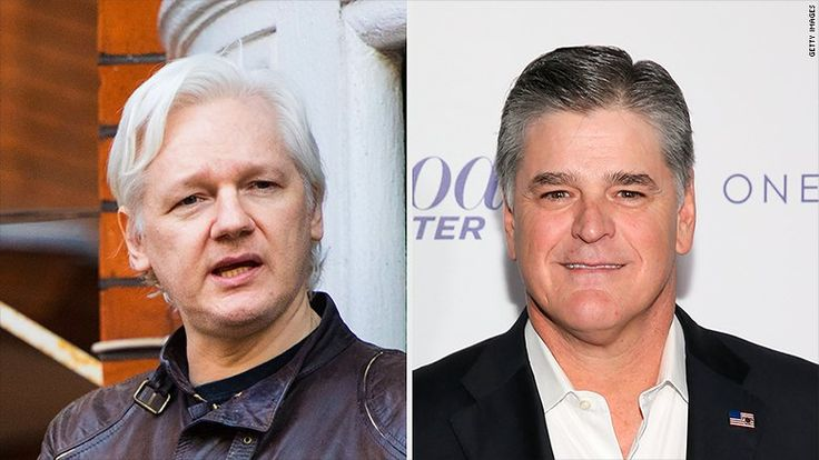 Liberalnightmare! After Wikileaks founder Julian Assange asks for suggestion on format for hisweekly radio broadcast/podcast from withinEcuador embassy, Sean Hannity invites himto host his r…