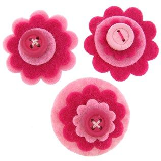 The Flying Trapeze Pink Felt Flowers & Button Accents | Shop Hobby Lobby