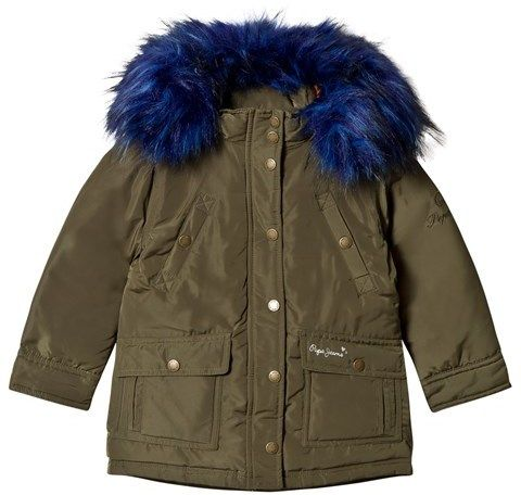 Pepe Jeans Khaki Parka with Blue Faux Fur Hood
