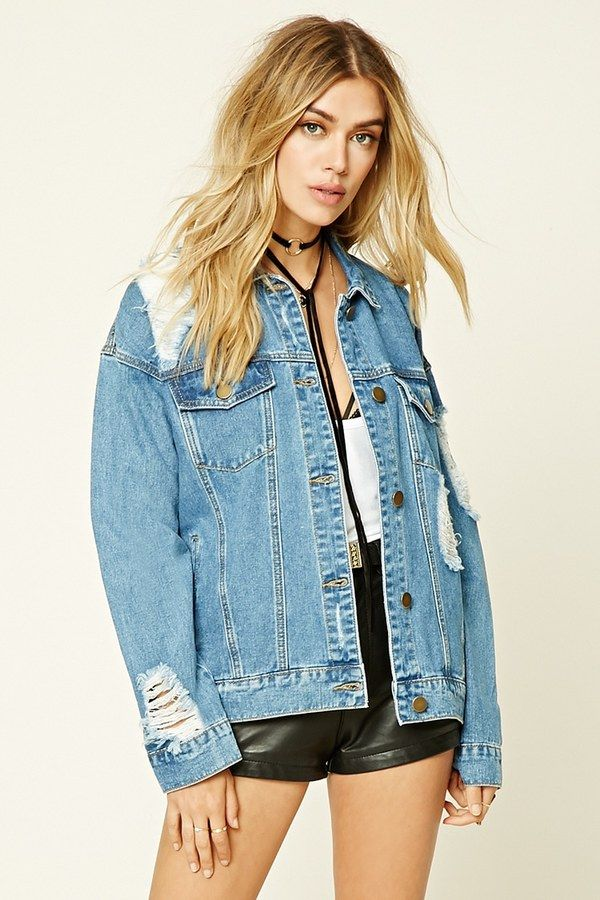 FOREVER 21 Distressed Denim Jacket #fashion #style #makeup #beauty #hair #summerfashion #outfit #outfitideas #outfitinspiration #summeroutfit #ootd #wavyhair #denimjacket #leathershorts #streetstyle
