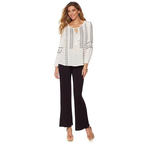 Daisy Fuentes Peasant Blouse - Ivory/Off White