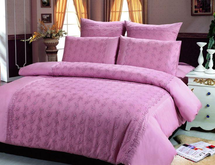 Элитное сатиновое кружевное постельное белье из люкс сатина, кружево, ls-004r. Однотонное, розовое. Отделка гипюром кружевами. Размеры, описание, характеристики, низкие цены, доставка.