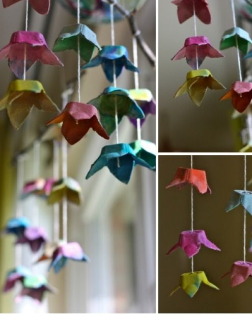 """Egg carton flowers. <a href=""""http://buzzmills.typepad.com/blog/2013/04/happy-earth-day-and-kcw-day-one.html"""" target=""""_blank"""">Tutorial here.</a>"""