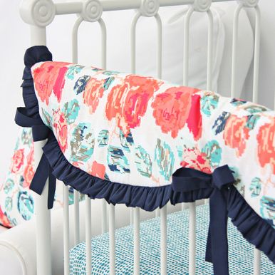 coral and navy teething guard