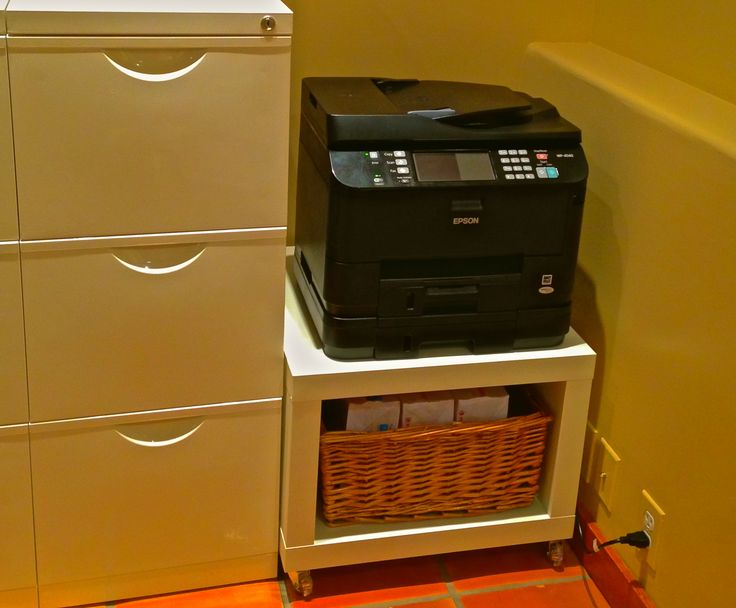 Printer cart. I added a basket for copy paper, I've had it for years and it fit nicely. Lack side table on casters @ Ikea.