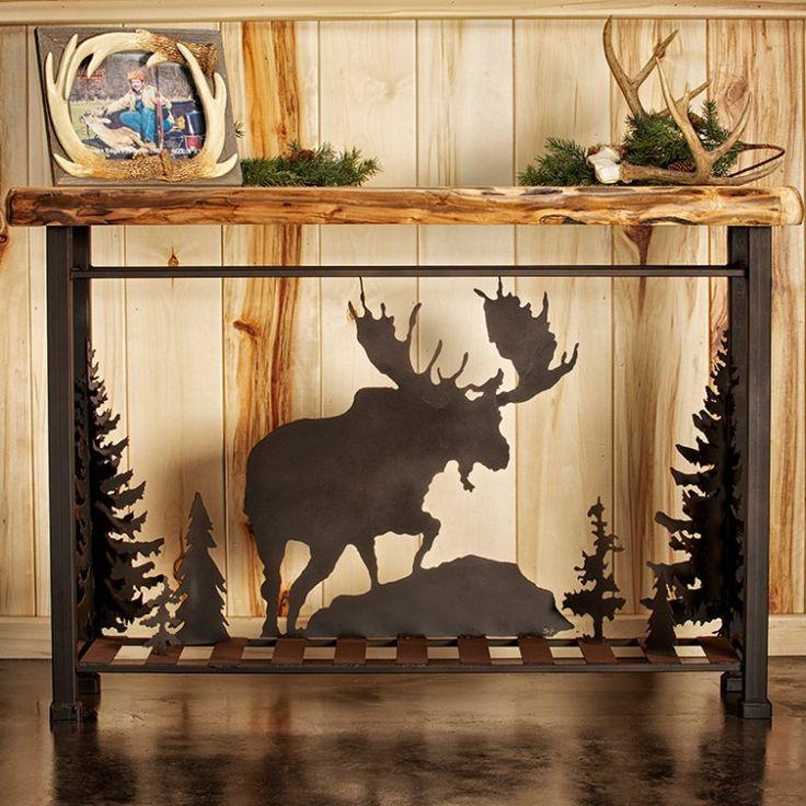 Wood & Metal Moose Scene Sofa Table - $599.00