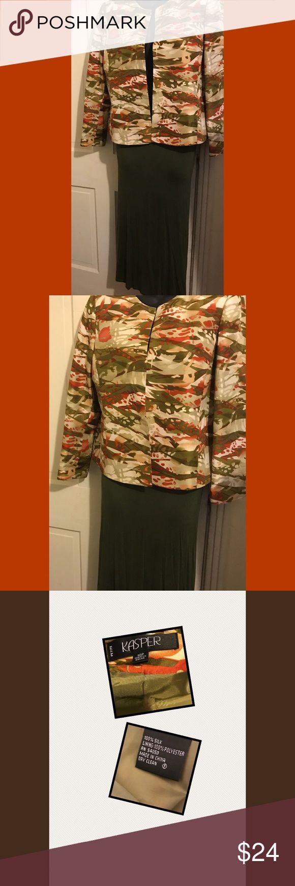 Kasper Petite Blazer / Jacket Beautiful Blazer / jacket .... Open front no buttons 💯 Silk (Army Green Skirt NOT Included just an 💡) - Smoke & Pet Free Home Kasper Jackets & Coats Blazers