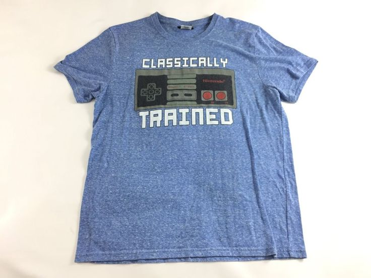Men's Nintendo Tshirt Classically Trained Blue Size Large Gamer Tee Short Sleeve #Nintendo #GraphicTee