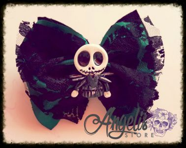 Gothic Green and Black Lace Bow with Polymer Clay Jack Skellington