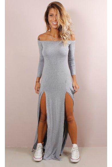 Vestido Dream Ombro a Ombro com Fendas - fashioncloset #fendas #mescla #vestido…
