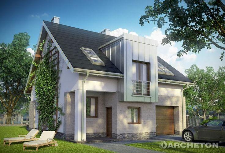 Projekt domu Cyrkonia - funkcjonalny dom na wąską działkę, z pralnią na poddaszu