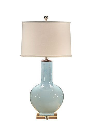 "Wildwood LampsBOTTLE BLUE LAMP Hand Glazed Porcelain With Wood Height 31.0"" (78.0 cm) Shade: top(14) bottom(15) side(10)"