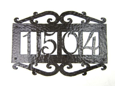 APH14 Spanish Mediterranean hammered wrought iron address plaque – Bushere & Son Iron Studio Inc.