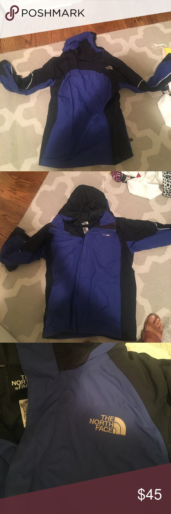 Youth XL women's XS north face ski jacket Good shape. Cobalt blue and black. Has phone number written on the tag, but no other blemishes. Can work as a ski jacket or a raincoat. North Face Jackets & Coats #RaincoatsForWomenTheNorthFace