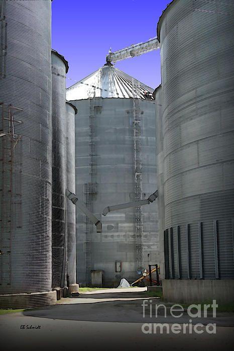 """Grain Bins"" © EB Schmidt. Digital painting of storage bins for grain - a common site in agricultural communities. (Clarinda, Iowa) #schmidt #farming #agriculture #clarinda #iowa #heartland"