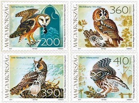 2017 Fauna of Hungary: Owls, Set of 4. Designs: 200fo, Tyto alba (Barn owl). 360fo, Strip aluco (Tawny owl). 390fo, Asio otus (Long-eared owl). 410fo, Athene noctua (Little owl).
