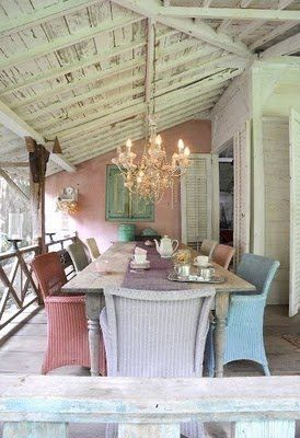 So charming!: Dining Rooms, Pastel, Dining Area, Color, Interiors Design, Back Porches, Ceilings, Outdoor Spaces, Wicker Chairs