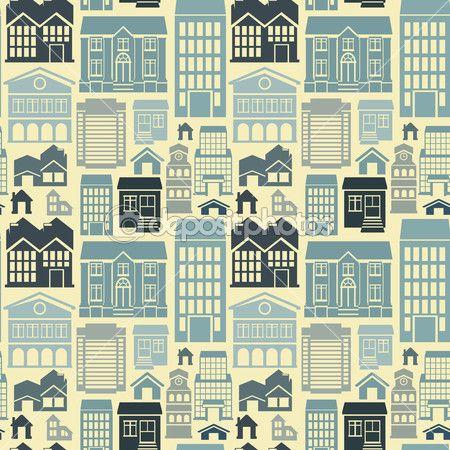 Бесшовный узор вектор с домов и зданий — Стоковая иллюстрация #28114227